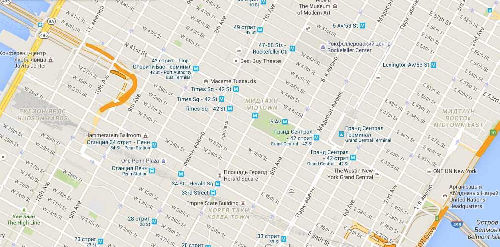 Map of Manhattan. New York