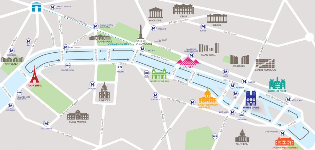 Batobus Road Map. Paris. France