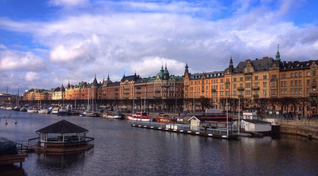 Вид на набережную Страндвеген (Strandvägen) в Стокгольме