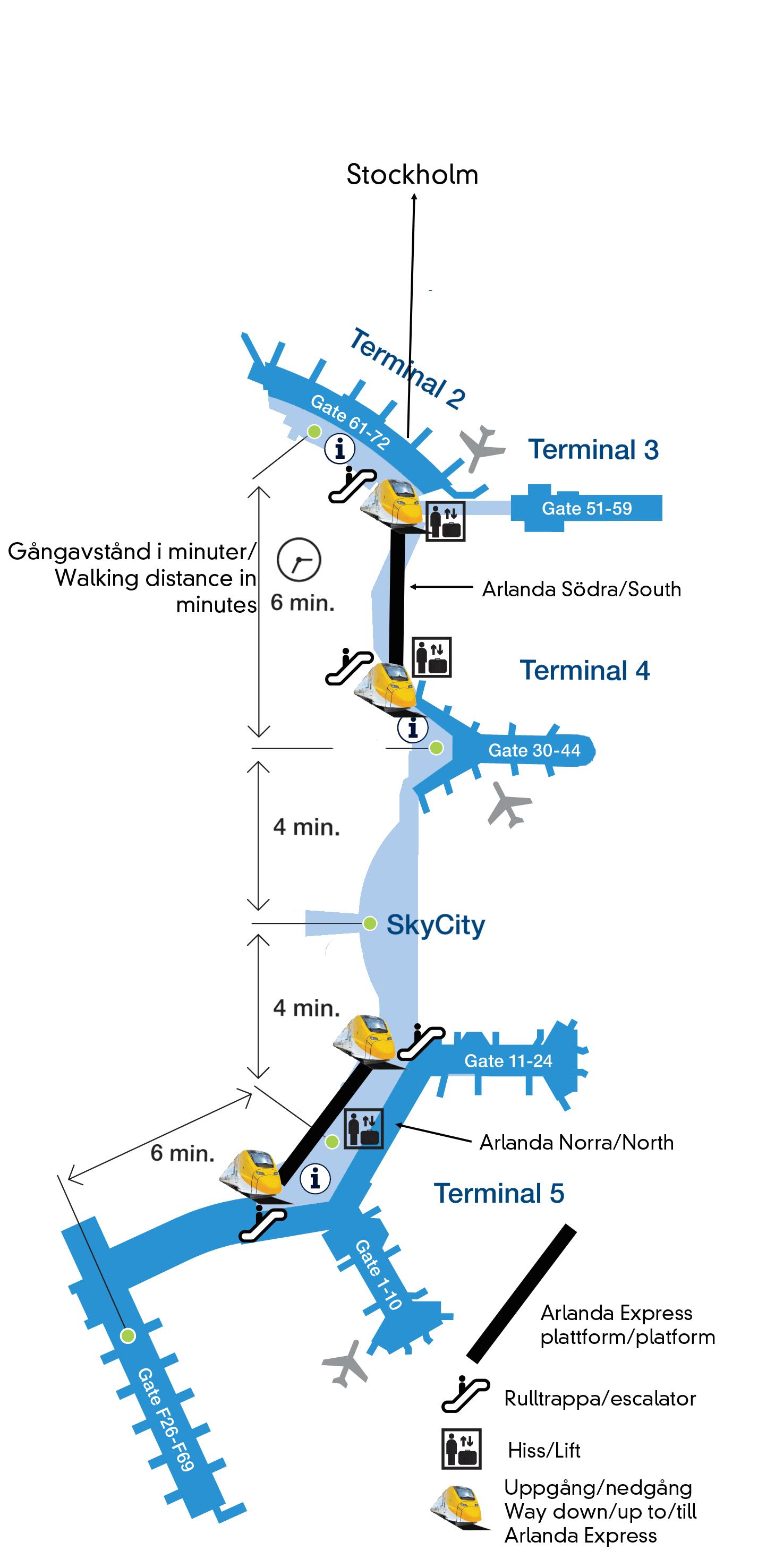Arlanda Express Map. Stockholm. Sweden
