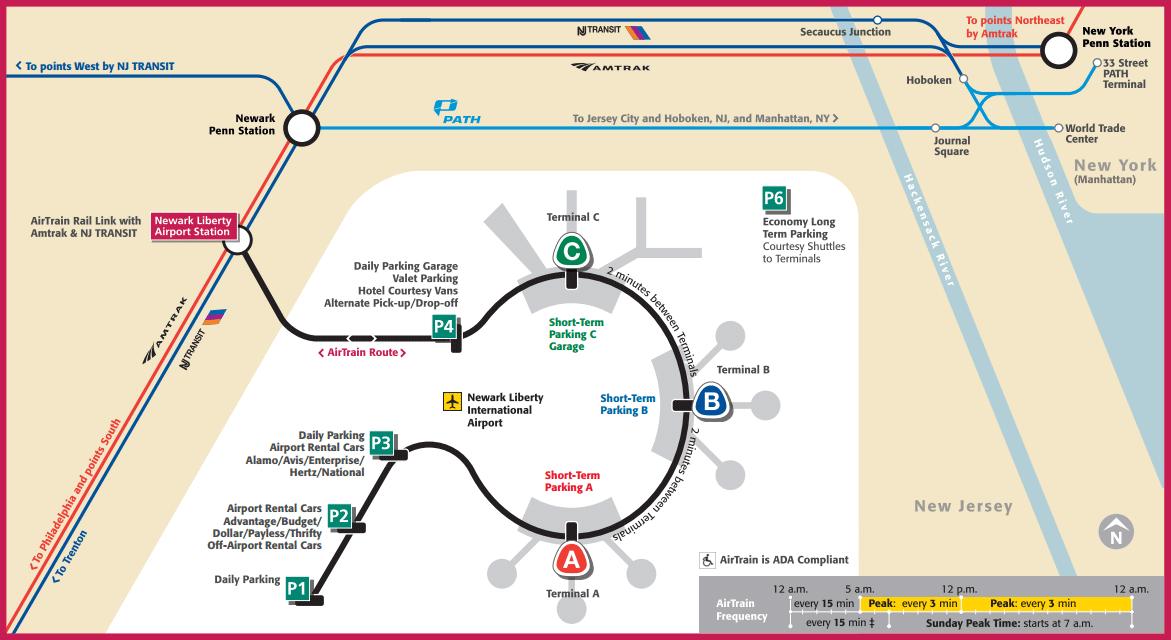 Map of Airtrain NewArk. New York