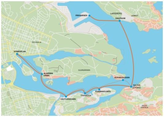 Маршруты пароходов компании SjöVägen