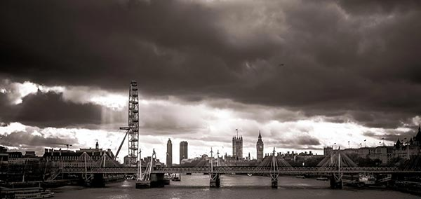 The view from Waterloo Bridge. London. England