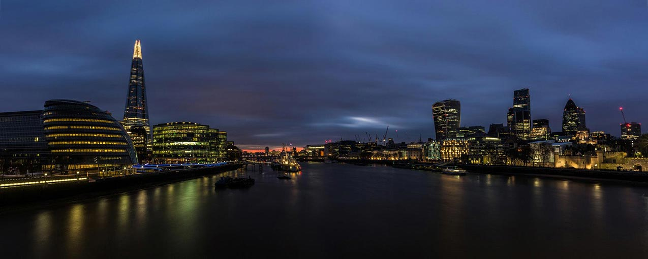 The view from Tower Bridge. London. England