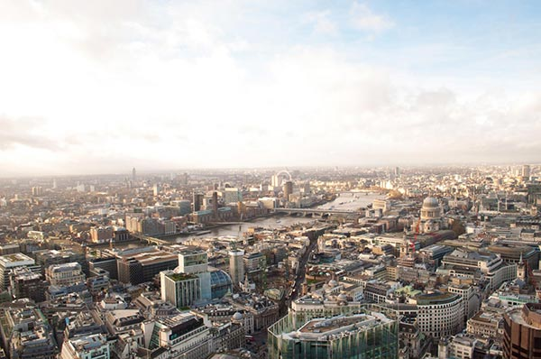 The view from champagne bar «Vertigo 42». London. England
